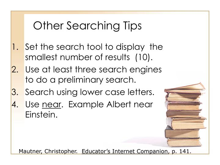 Other Searching Tips