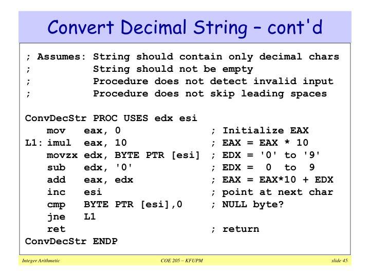 Convert Decimal String – cont'd