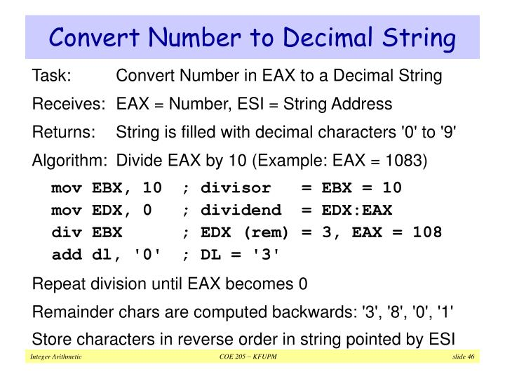 Convert Number to Decimal String