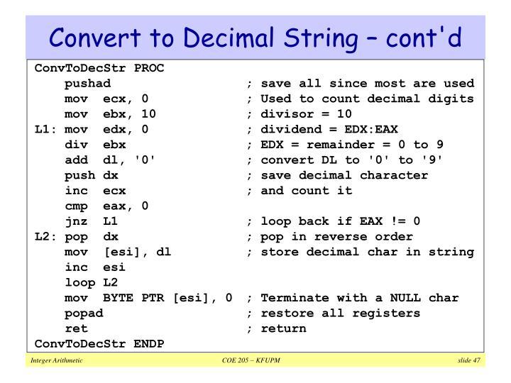 Convert to Decimal String – cont'd
