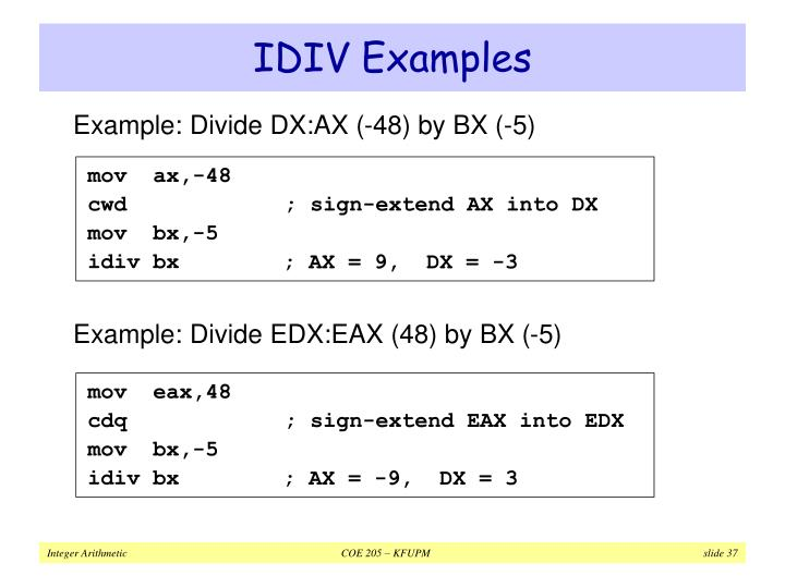 IDIV Examples