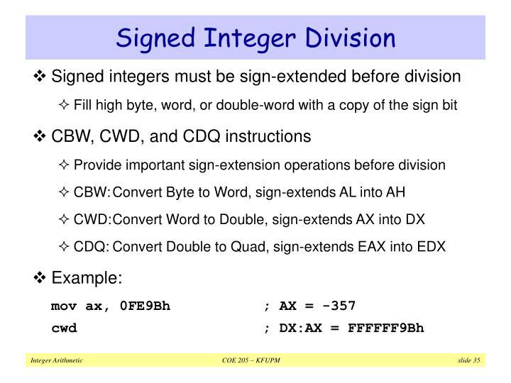 Signed Integer Division