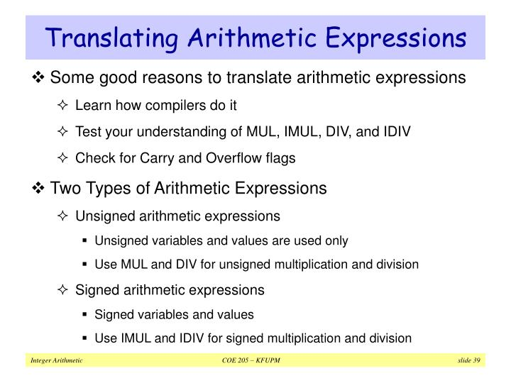 Translating Arithmetic Expressions