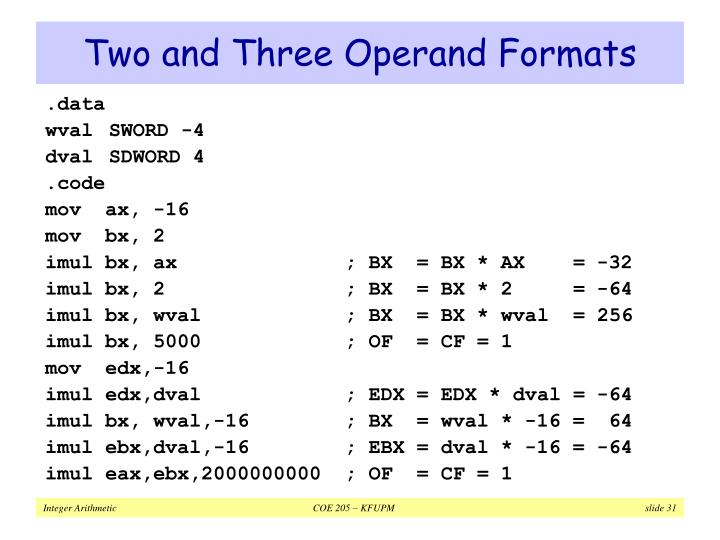 Two and Three Operand Formats