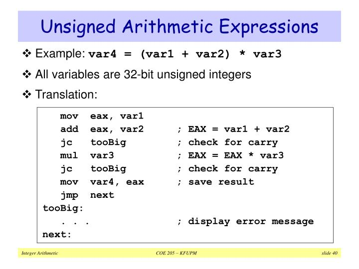 Unsigned Arithmetic Expressions