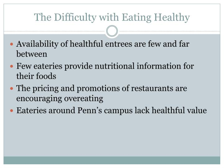 The Difficulty with Eating Healthy