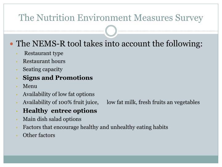 The Nutrition Environment Measures Survey