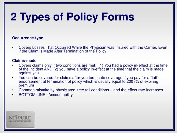 2 Types of Policy Forms
