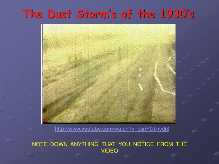The Dust Storm's of the 1930's