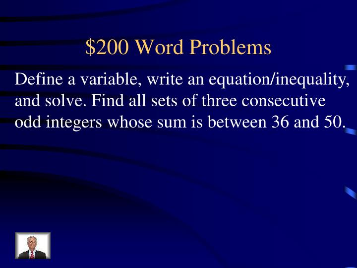 $200 Word Problems