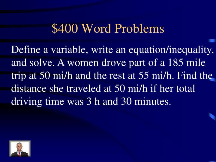 $400 Word Problems