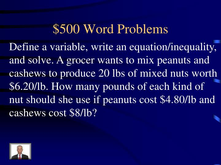 $500 Word Problems