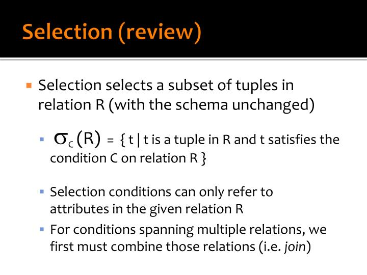 Selection review1