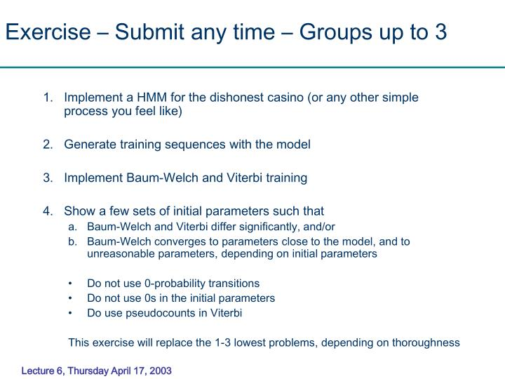 Exercise – Submit any time – Groups up to 3