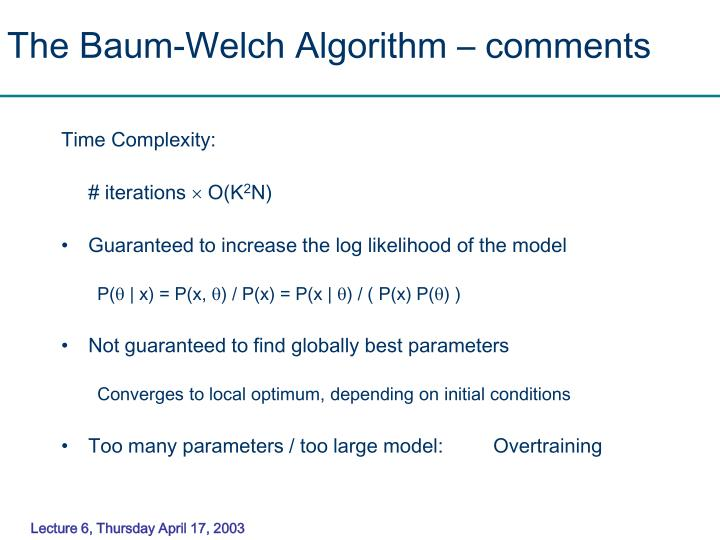 The Baum-Welch Algorithm – comments