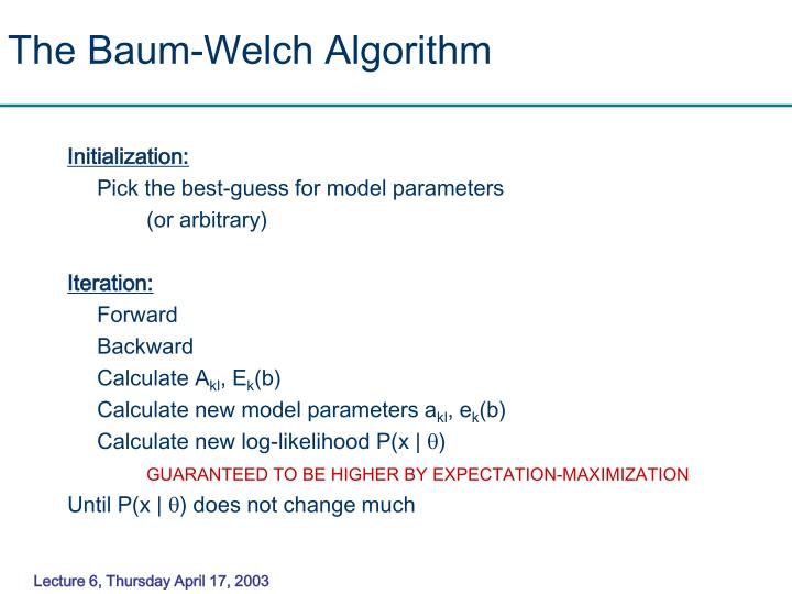 The Baum-Welch Algorithm