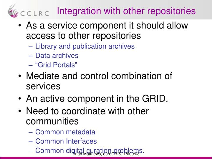 Integration with other repositories