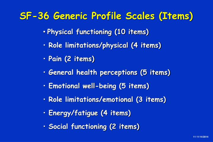 SF-36 Generic Profile Scales (Items)