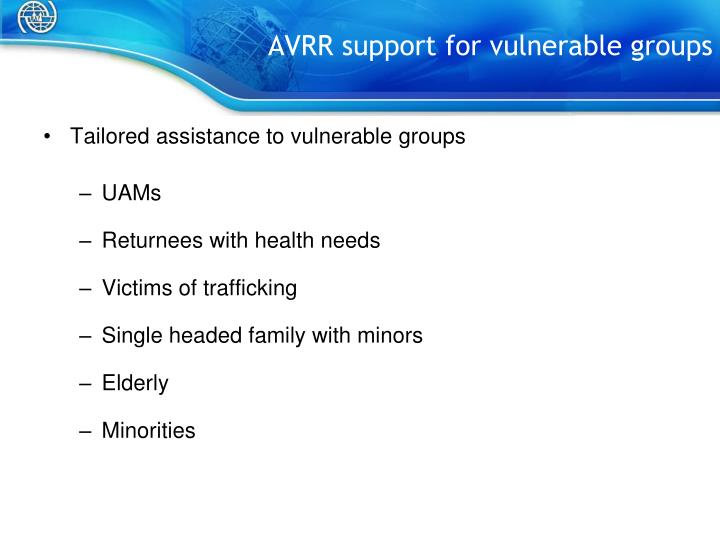 AVRR support for vulnerable groups