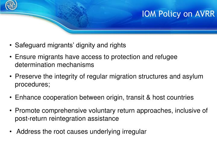Iom policy on avrr