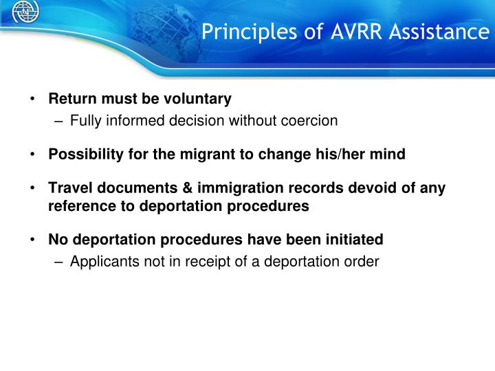Principles of AVRR Assistance