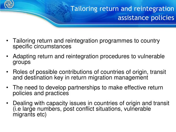 Tailoring return and reintegration assistance policies