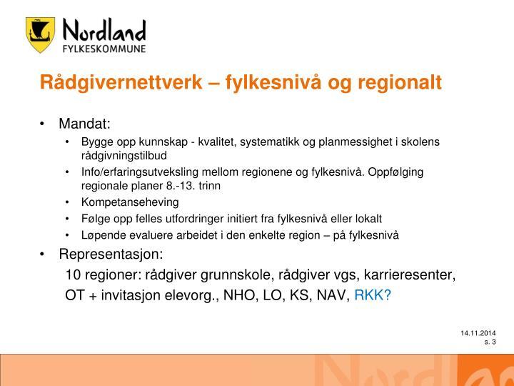 Rådgivernettverk – fylkesnivå og regionalt