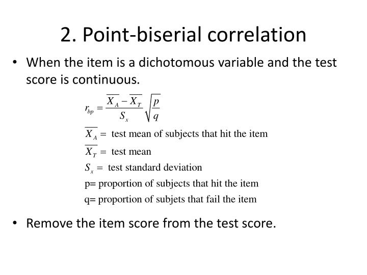 2. Point-biserial correlation