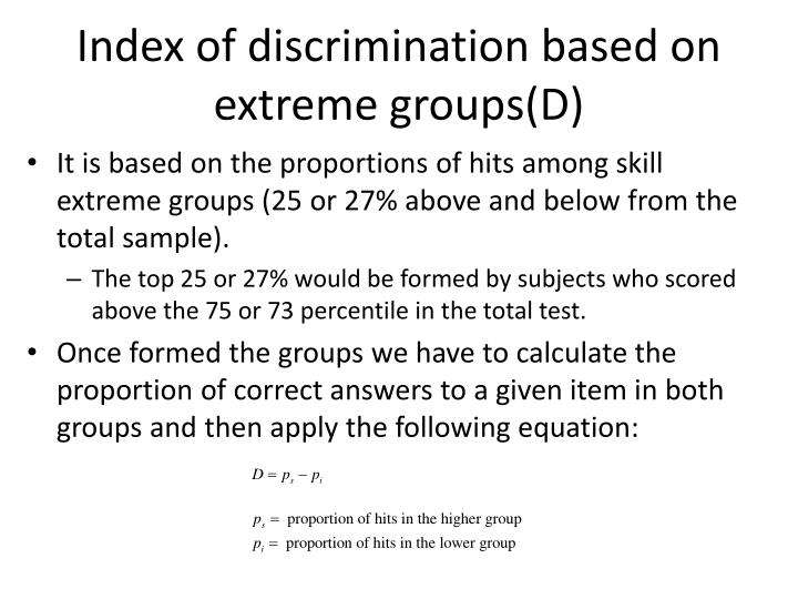 Index of discrimination based on extreme groups