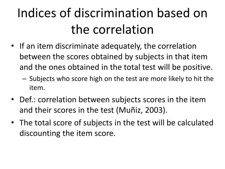 Indices of discrimination based on the correlation