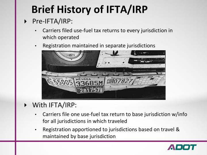 Brief history of ifta irp