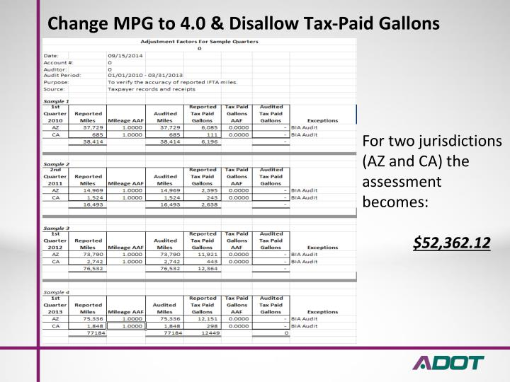 Change MPG to 4.0 & Disallow Tax-Paid Gallons