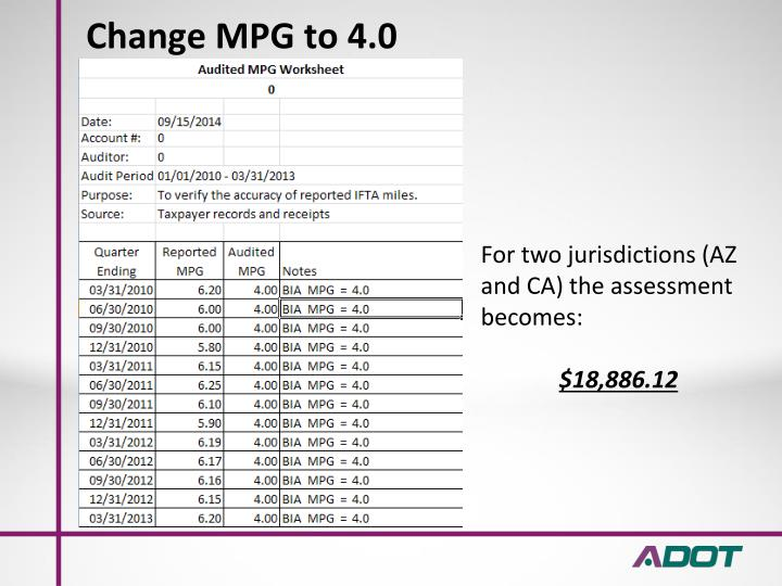 Change MPG to 4.0