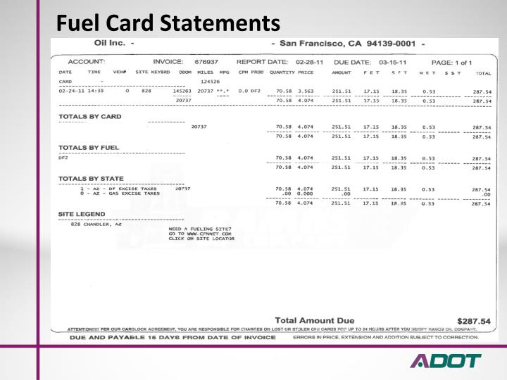 Fuel Card Statements