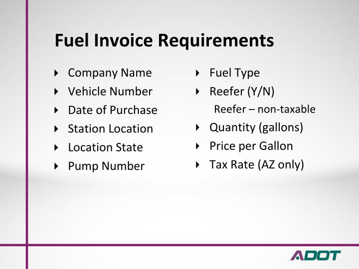 Fuel Invoice Requirements