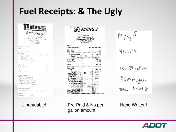 Fuel Receipts: & The Ugly