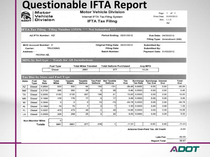 Questionable IFTA Report