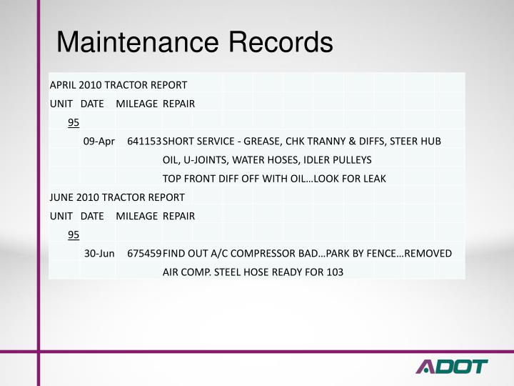 Maintenance Records