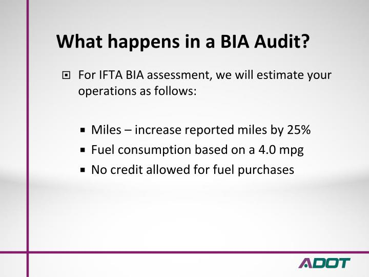 What happens in a BIA Audit?