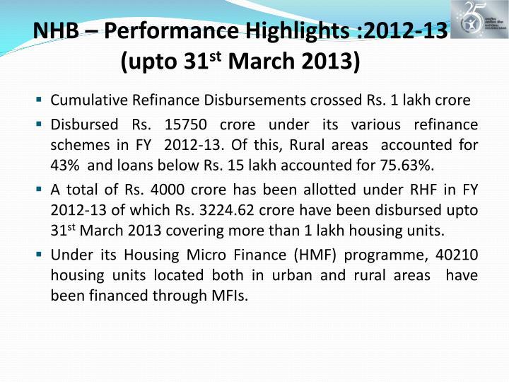 NHB – Performance Highlights :2012-13 (