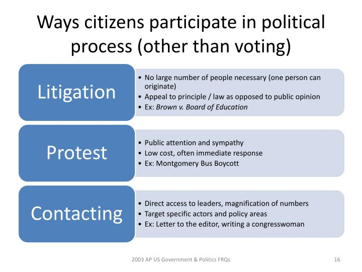 Ways citizens participate in political process (other than voting)