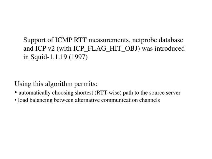 Support of ICMP RTT measurements, netprobe database