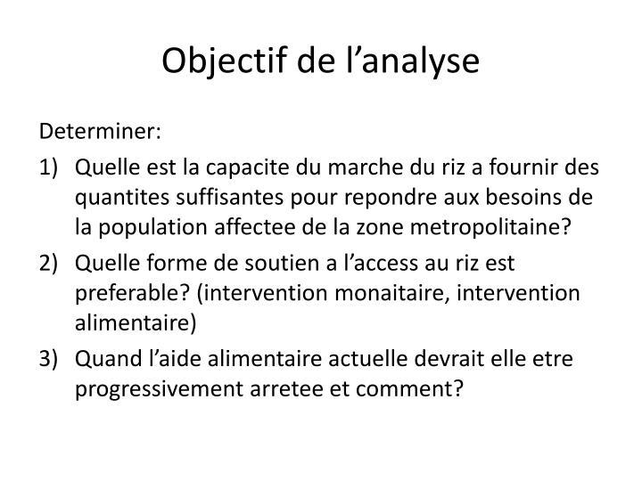 Objectif de l'analyse