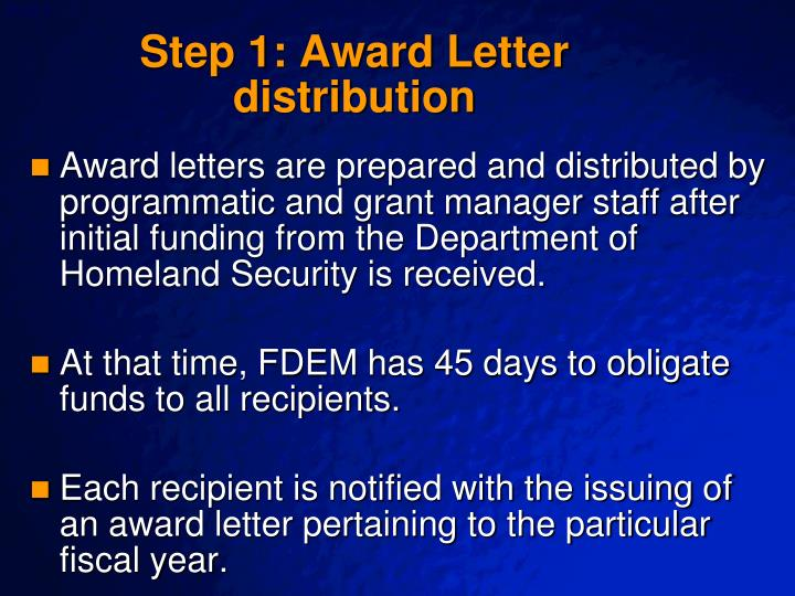 Step 1 award letter distribution
