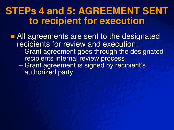 STEPs 4 and 5: AGREEMENT SENT to recipient for execution