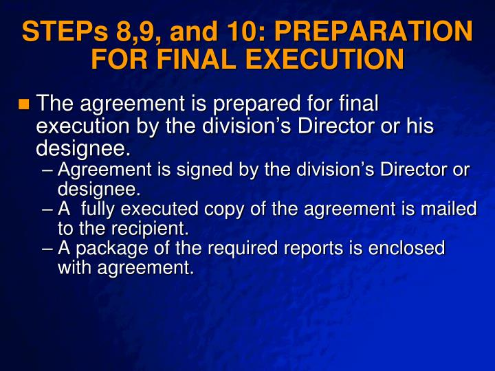 STEPs 8,9, and 10: PREPARATION FOR FINAL EXECUTION