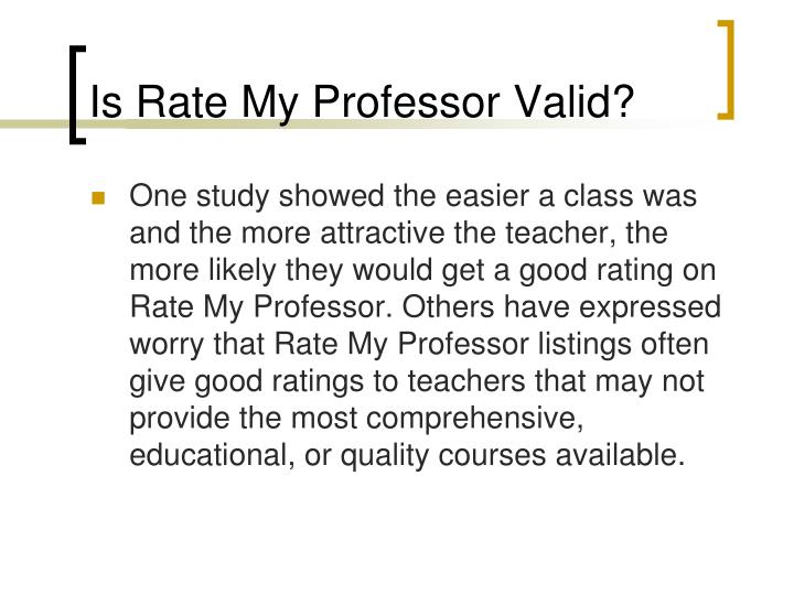 Is Rate My Professor Valid?