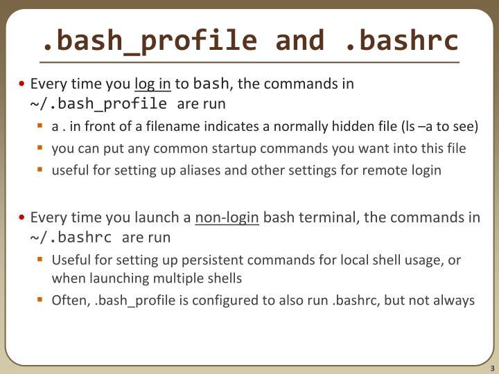 .bash_profile and .bashrc