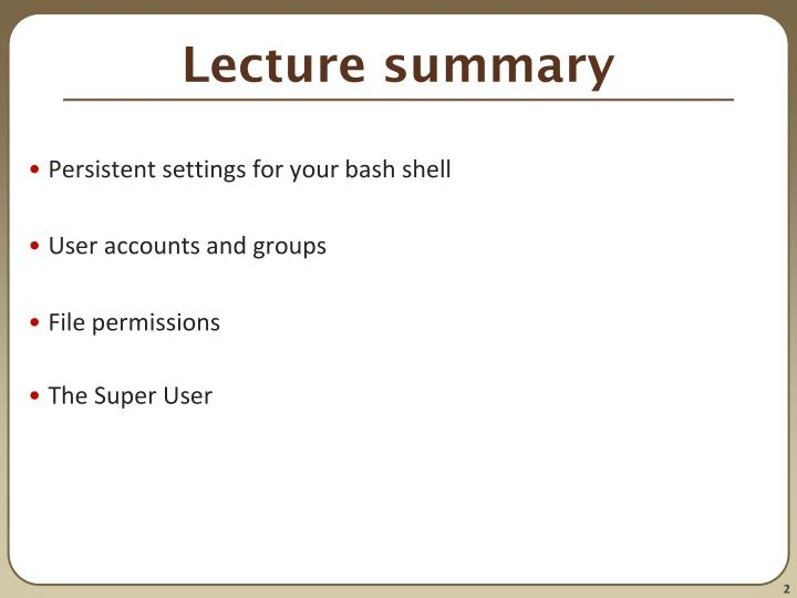 Lecture summary