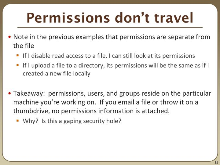 Permissions don't travel